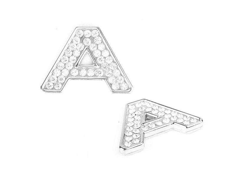 Letter A Crystal Alphabet Emblem Bling Badge Shiny Symbol