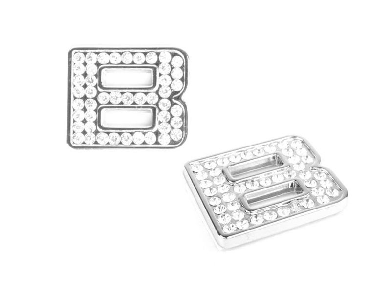 Letter B Crystal Alphabet Emblem Bling Badge Shiny Symbol