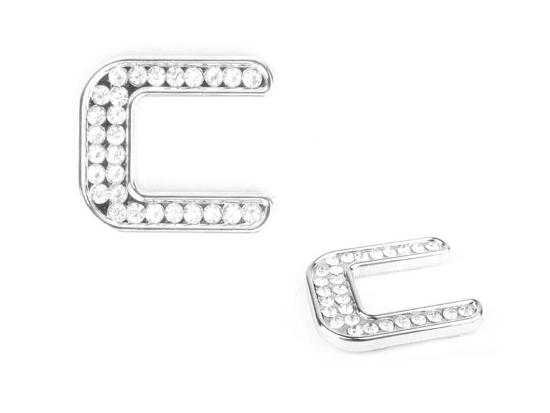Letter C Crystal Alphabet Emblem Bling Badge Shiny Symbol