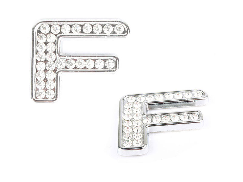 Letter F Crystal Alphabet Emblem Bling Badge Shiny Symbol