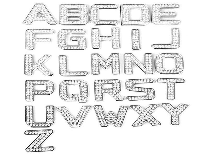 Letter F Crystal Alphabet Emblem Bling Badge Shiny Symbol