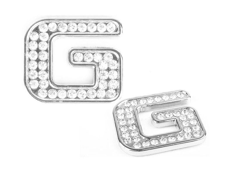 Letter G Crystal Alphabet Emblem Bling Badge Shiny Symbol