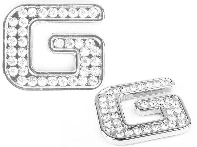 Letter G Crystal Alphabet Emblem Bling Badge Shiny Symbol