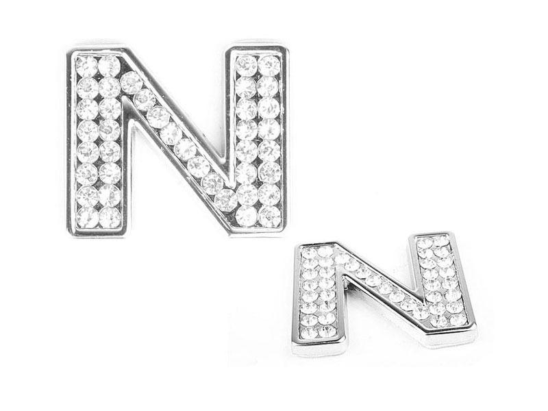 Letter N Crystal Alphabet Emblem Bling Badge Shiny Symbol