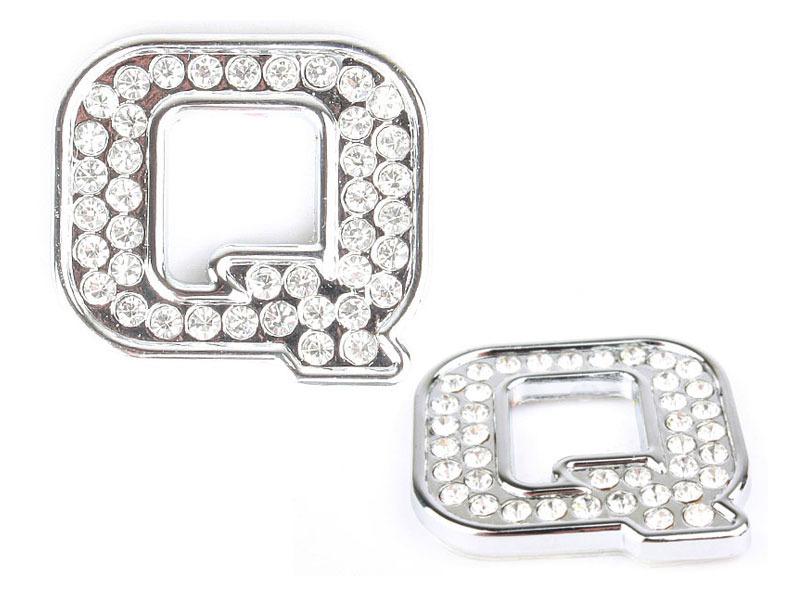 Letter Q Crystal Alphabet Emblem Bling Badge Shiny Symbol