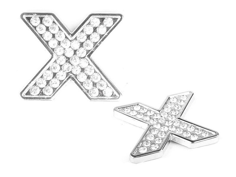 Letter X Crystal Alphabet Emblem Bling Badge Shiny Symbol