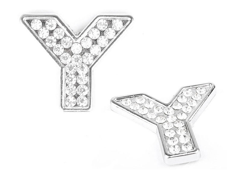 Letter Y Crystal Alphabet Emblem Bling Badge Shiny Symbol