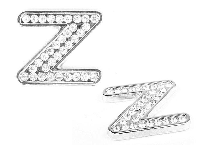Letter Z Crystal Alphabet Emblem Bling Badge Shiny Symbol