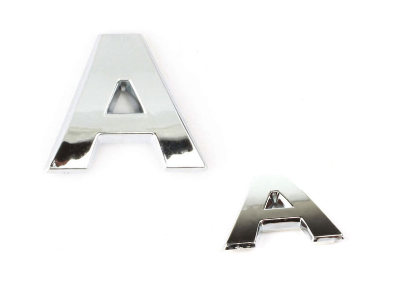 Letter A Chrome 3D Alphabet Emblem Bling Badge Shiny Symbol