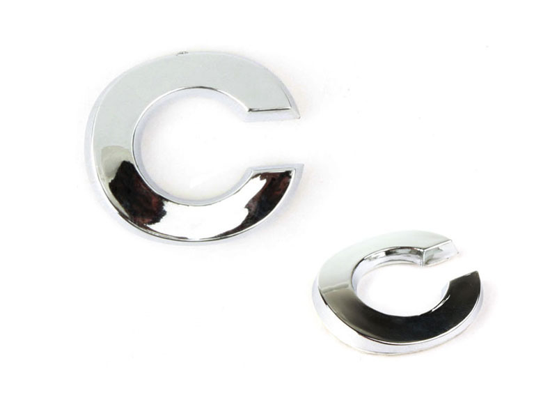 Letter C Chrome 3D Alphabet Emblem Bling Badge Shiny Symbol