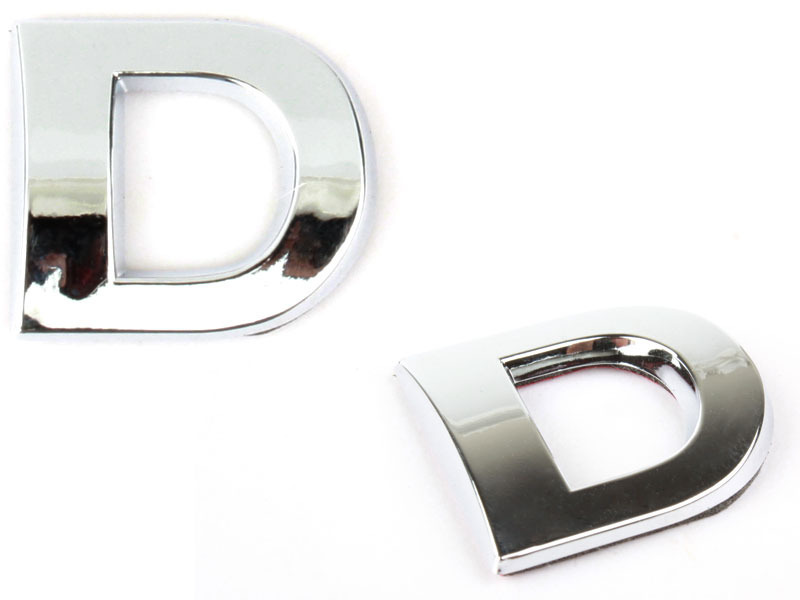 Letter D Chrome 3D Alphabet Emblem Bling Badge Shiny Symbol