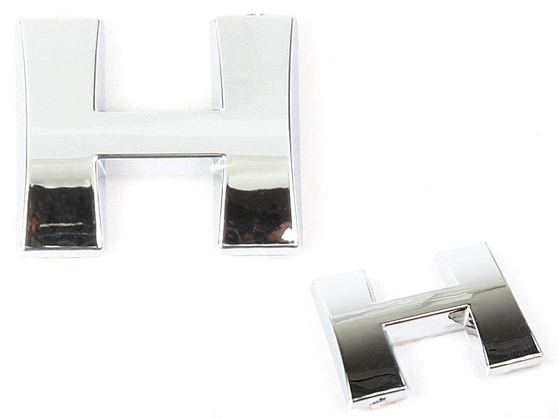 Letter H Chrome 3D Alphabet Emblem Bling Badge Shiny Symbol