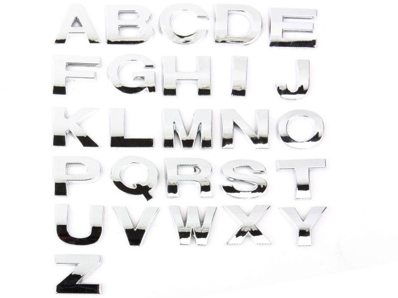 Letter J Chrome 3D Alphabet Emblem Bling Badge Shiny Symbol