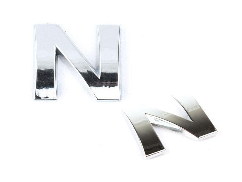 Letter N Chrome 3D Alphabet Emblem Bling Badge Shiny Symbol