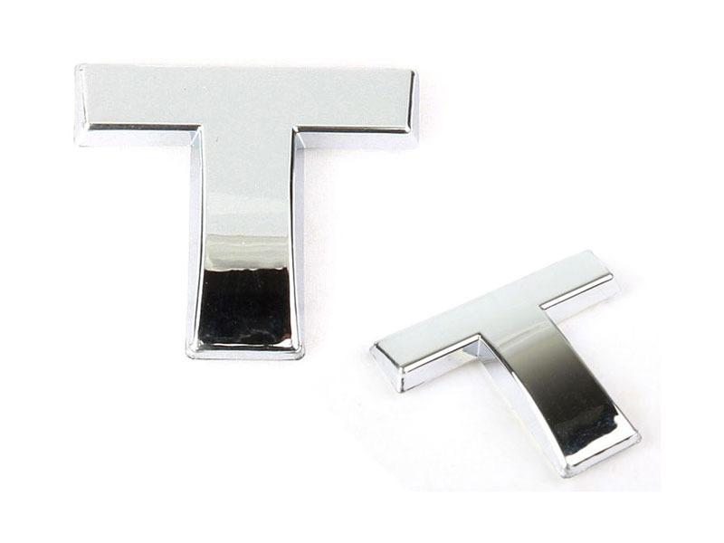 Letter T Chrome 3D Alphabet Emblem Bling Badge Shiny Symbol