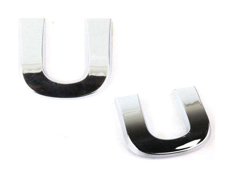 Letter U Chrome 3D Alphabet Emblem Bling Badge Shiny Symbol