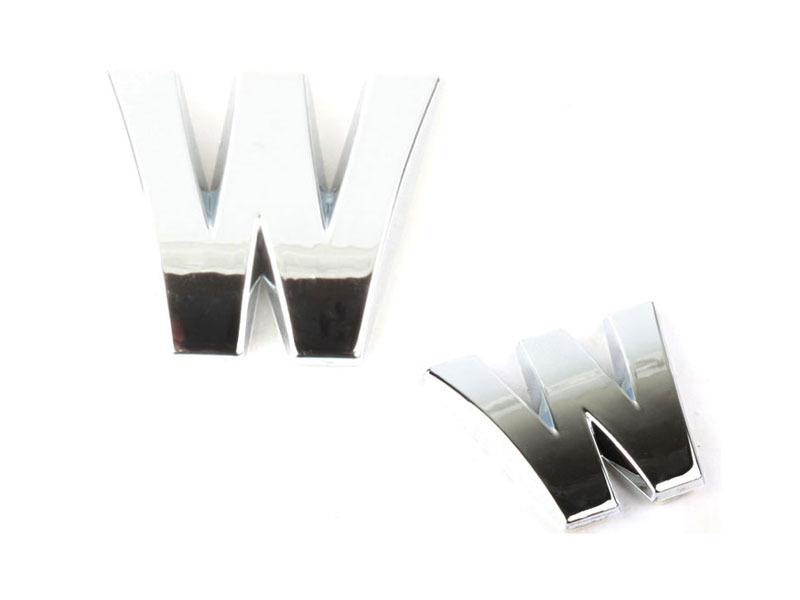 Letter W Chrome 3D Alphabet Emblem Bling Badge Shiny Symbol