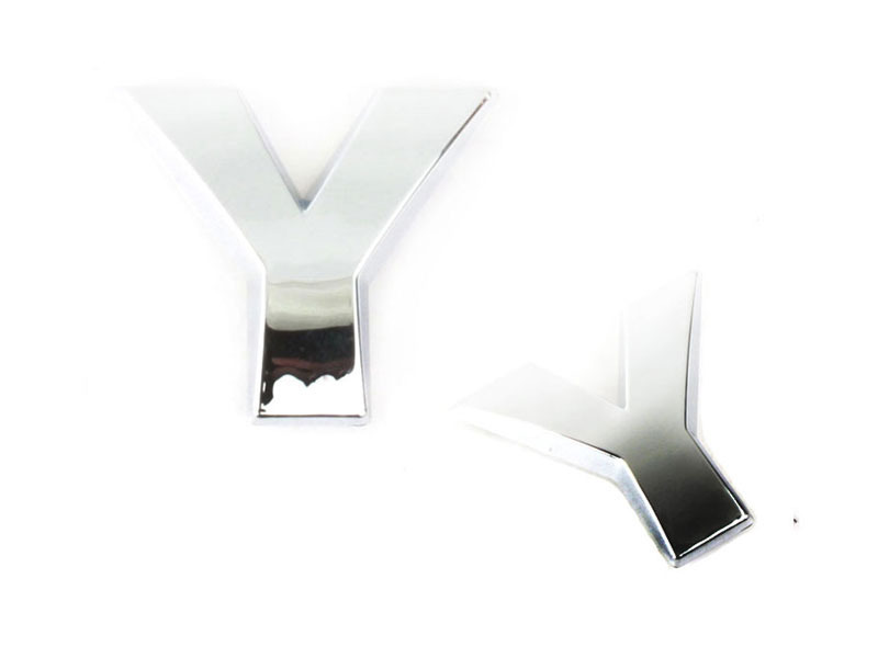 Letter Y Chrome 3D Alphabet Emblem Bling Badge Shiny Symbol