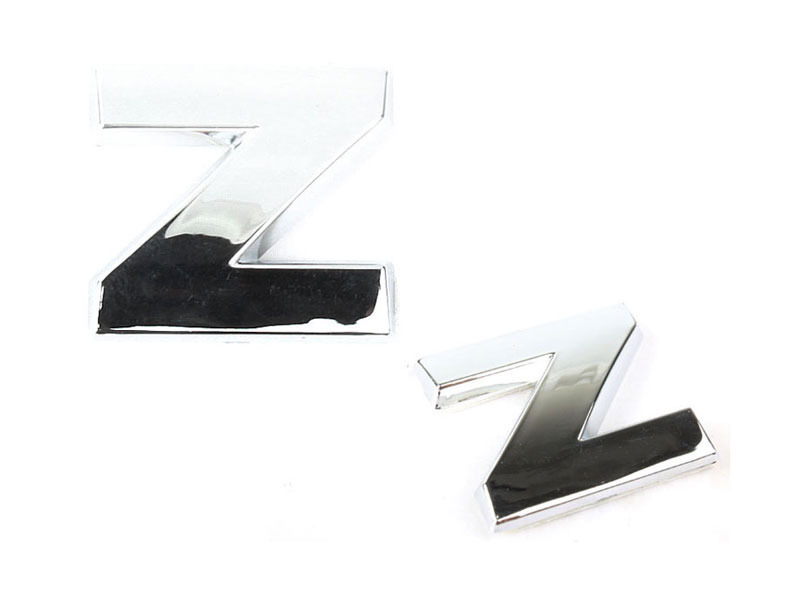 Letter Z Chrome 3D Alphabet Emblem Bling Badge Shiny Symbol