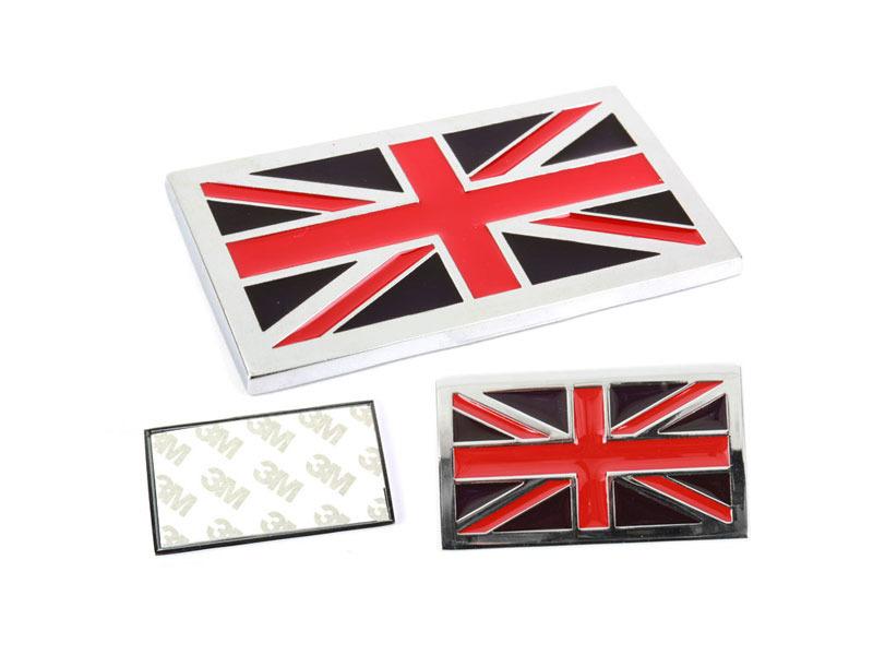 Chrome Flag Metal Emblem Badge 3M Tape - United Kingdom UK GB Britain Flag