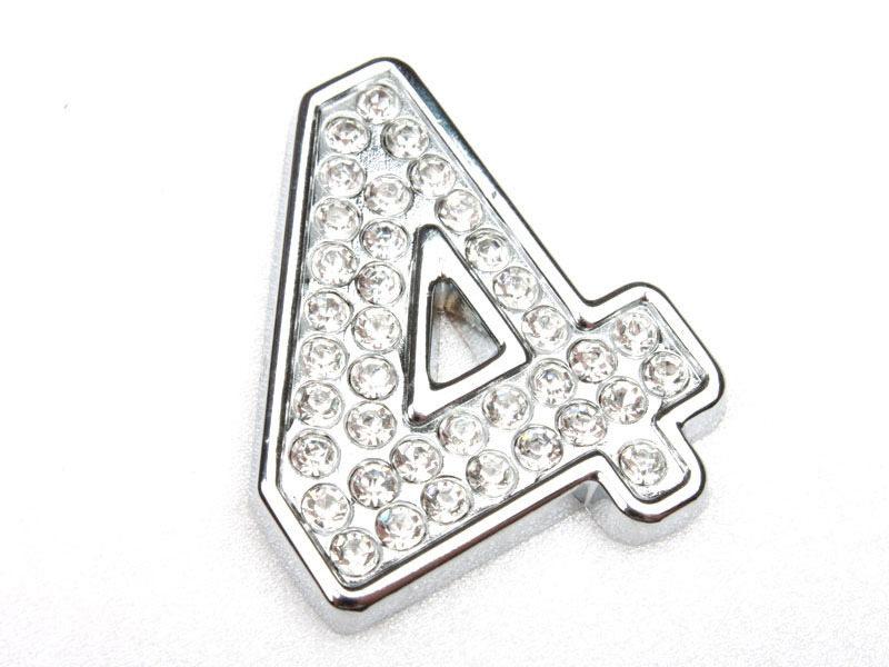 Number Four 4 Crystal Emblem Bling Badge Shiny Symbol