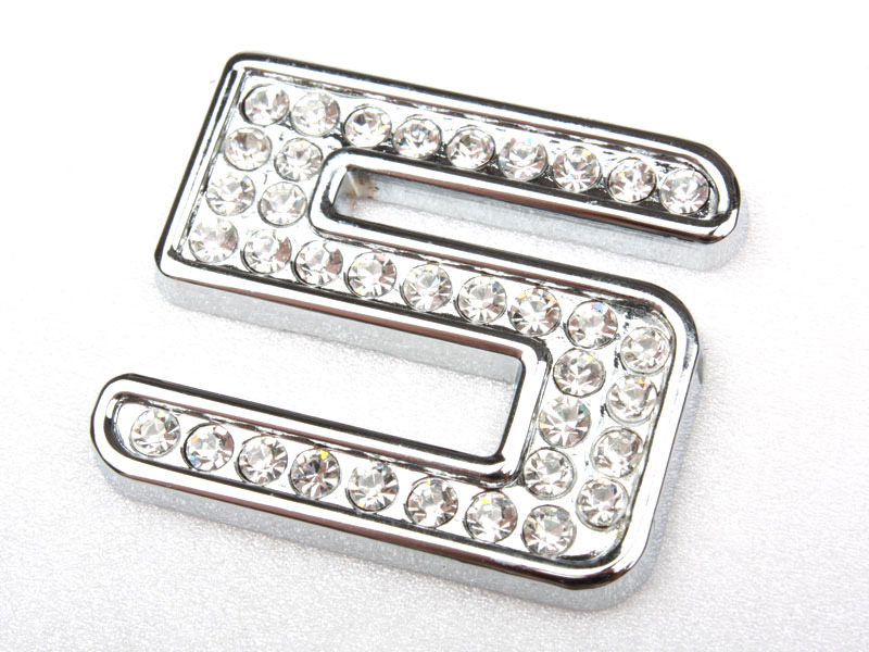 Number Five 5 Crystal Emblem Bling Badge Shiny Symbol