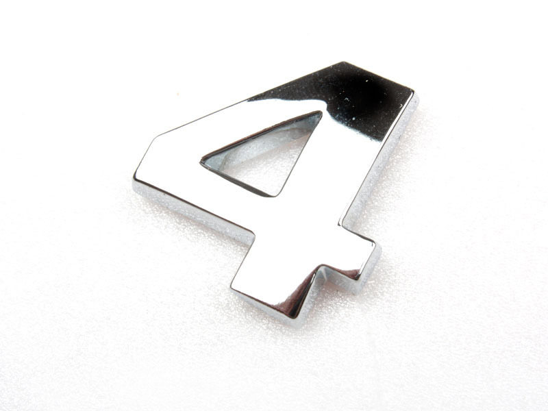 Number Four 4 Chrome 3D Emblem Bling Badge Shiny Symbol
