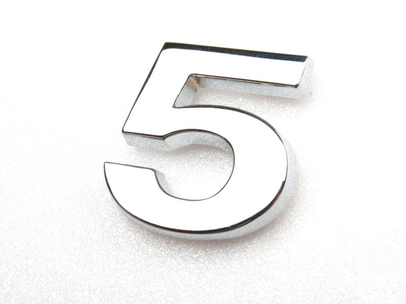 Number Five 5 Chrome 3D Emblem Bling Badge Shiny Symbol