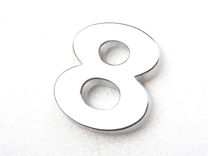 Number Eight 8 Chrome 3D Emblem Bling Badge Shiny Symbol