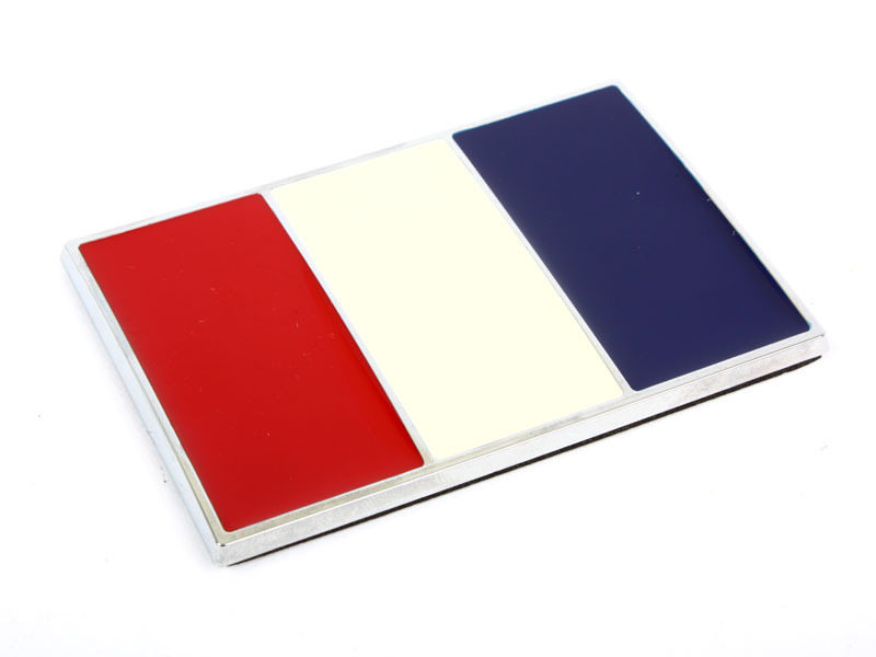 Chrome Flag Metal Emblem Badge 3M Tape - French FR Flag