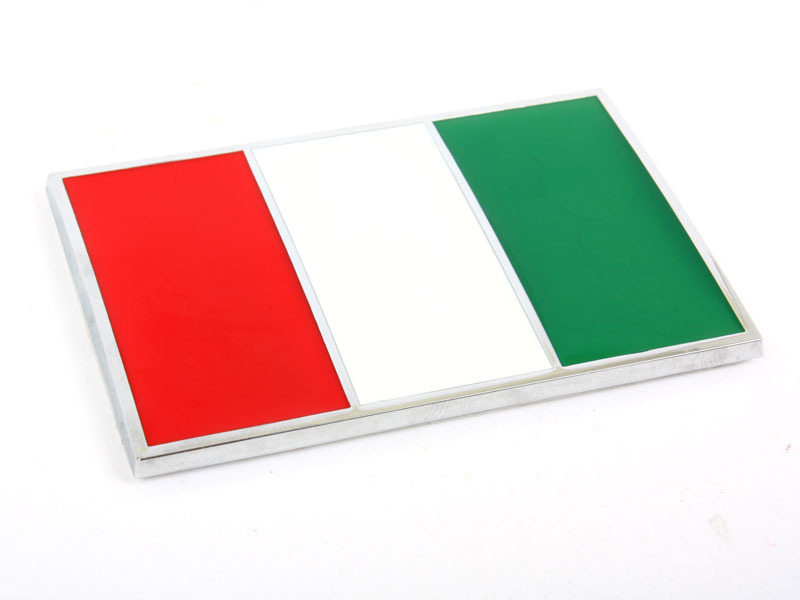 Chrome Flag Metal Emblem Badge 3M Tape - Italy IT Flag