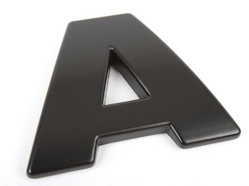 Letter A Matte Black Real Metal Alphabet Emblem Bling Badge Shiny Symbol