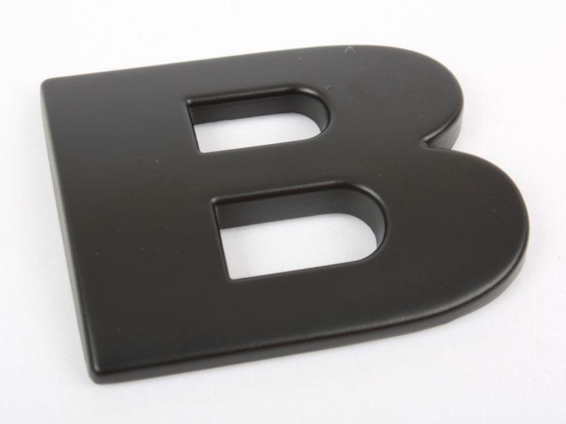 Letter B Matte Black Real Metal Alphabet Emblem Bling Badge Shiny Symbol