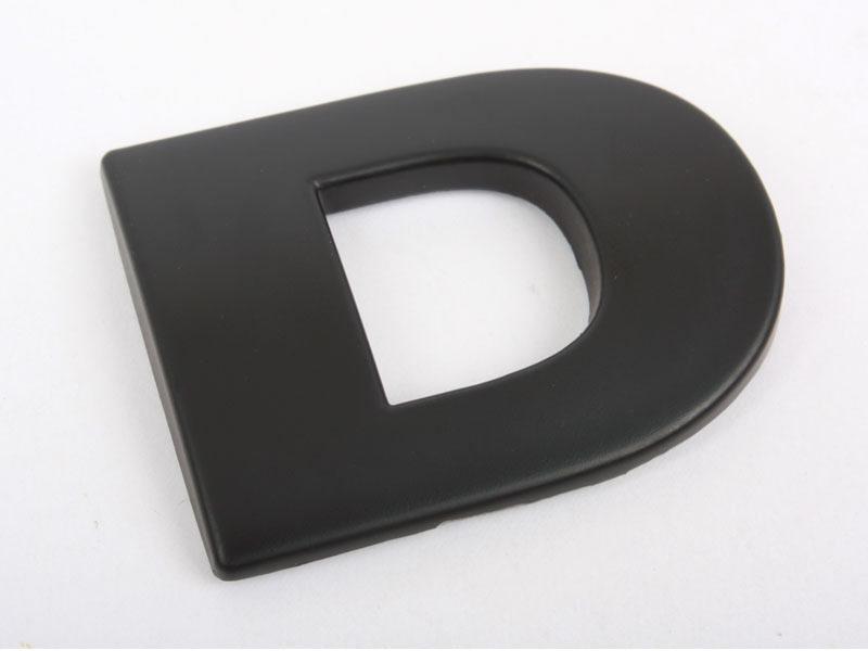 Letter D Matte Black Real Metal Alphabet Emblem Bling Badge Shiny Symbol