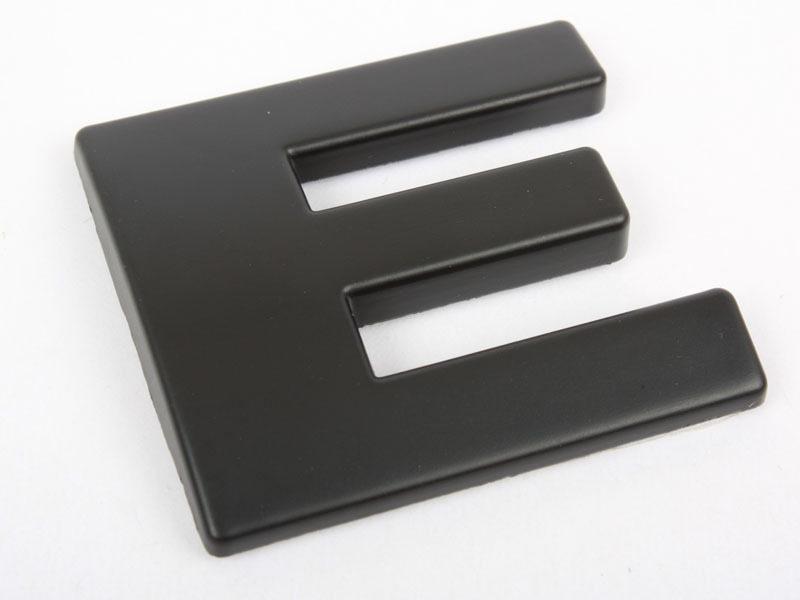 Letter E Matte Black Real Metal Alphabet Emblem Bling Badge Shiny Symbol