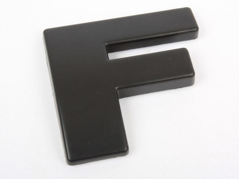 Letter F Matte Black Real Metal Alphabet Emblem Bling Badge Shiny Symbol