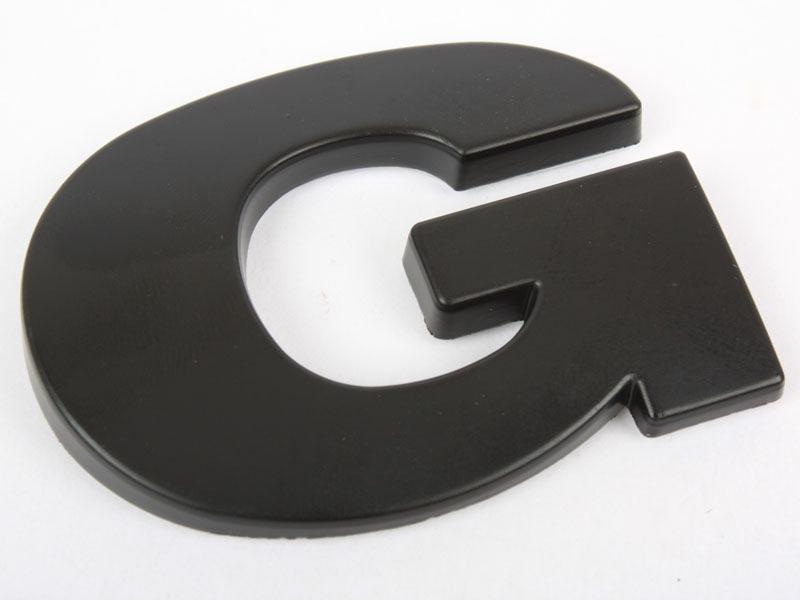 Letter G Matte Black Real Metal Alphabet Emblem Bling Badge Shiny Symbol