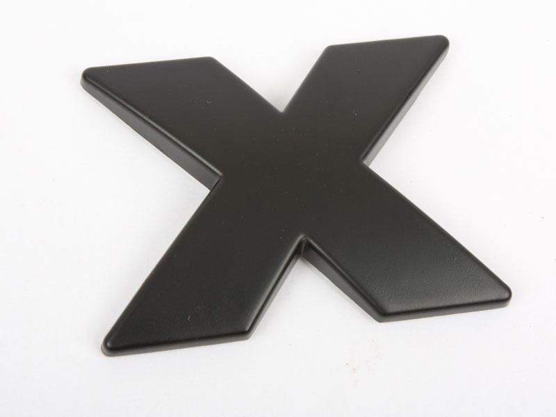 Letter X Matte Black Real Metal Alphabet Emblem Bling Badge Shiny Symbol