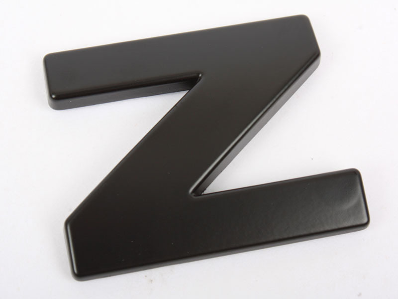 Letter Z Matte Black Real Metal Alphabet Emblem Bling Badge Shiny Symbol