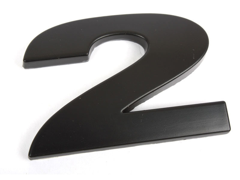 Number 2 Two Matte Black Real Metal Alphabet Emblem Bling Badge Shiny Symbol