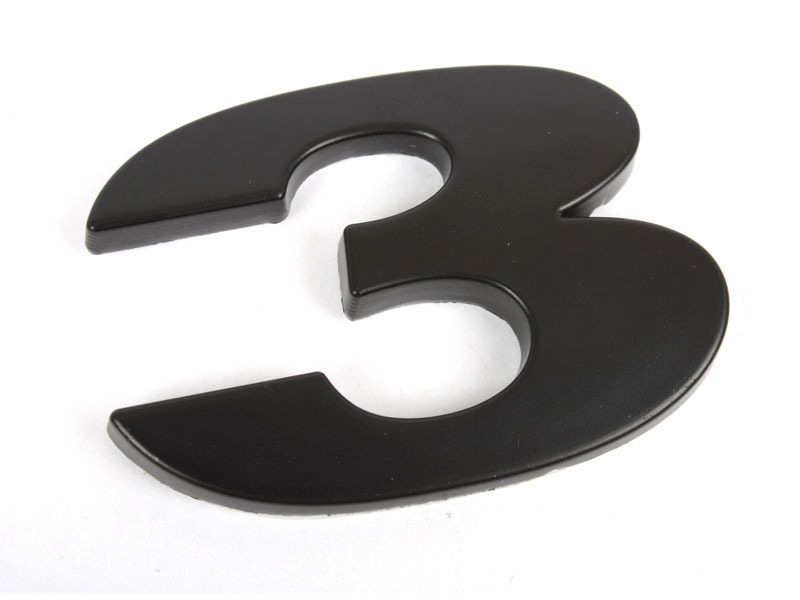 Number 3 Three Matte Black Real Metal Alphabet Emblem Bling Badge Shiny Symbol