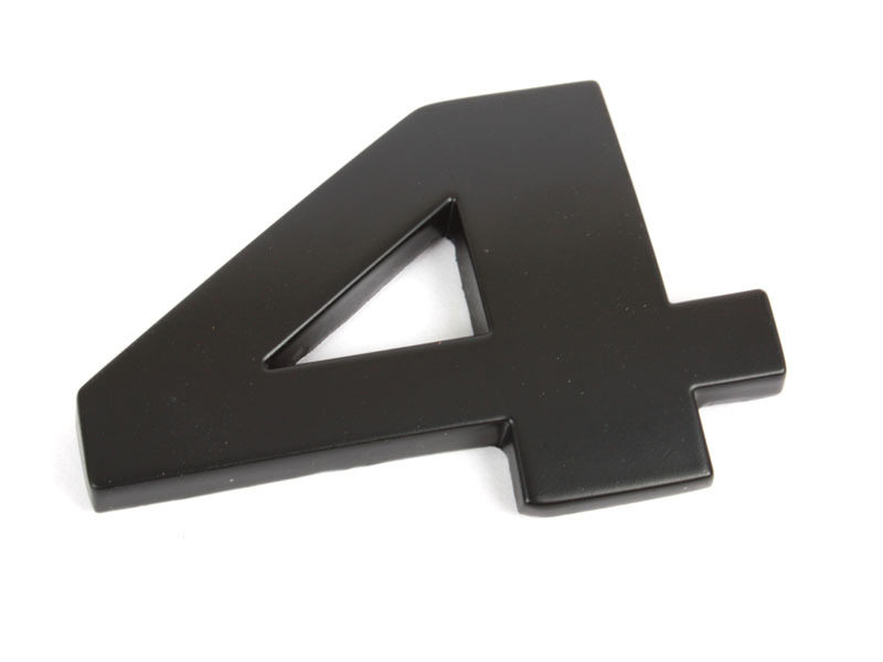 Number 4 Four Matte Black Real Metal Alphabet Emblem Bling Badge Shiny Symbol