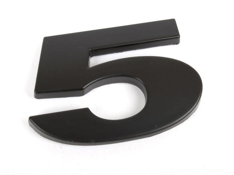 Number 5 Five Matte Black Real Metal Alphabet Emblem Bling Badge Shiny Symbol