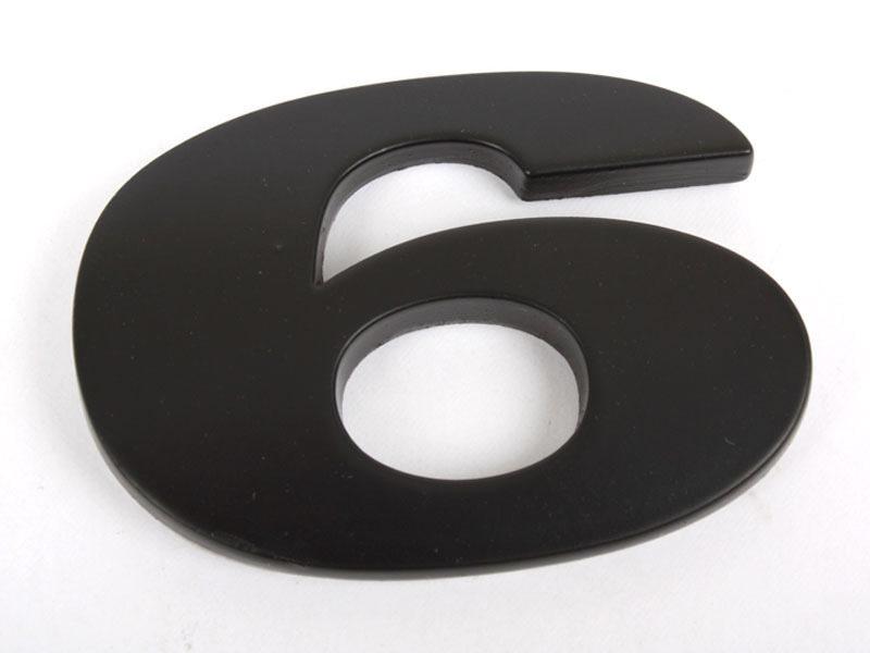 Number 6 Six Matte Black Real Metal Alphabet Emblem Bling Badge Shiny Symbol