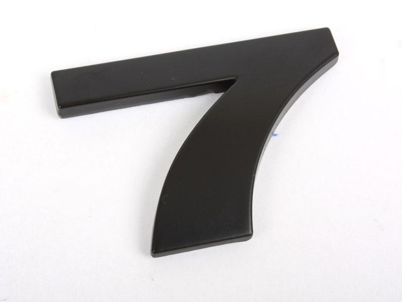 Number 7 Seven Matte Black Real Metal Alphabet Emblem Bling Badge Shiny Symbol