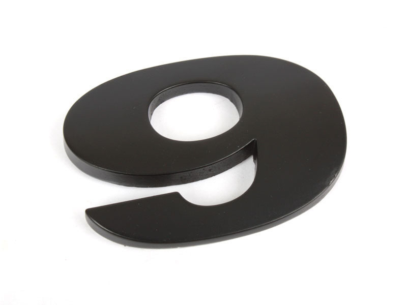 Number 9 Nine Matte Black Real Metal Alphabet Emblem Bling Badge Shiny Symbol