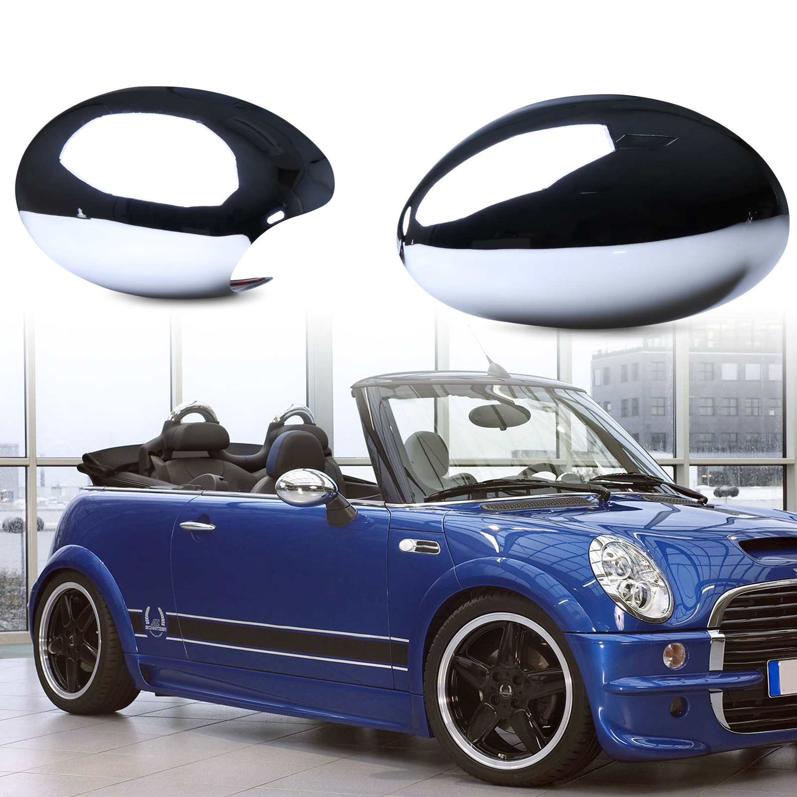 Chrome Door Mirror Covers For BMW Mini Cooper S R50 R52 R53 LHD