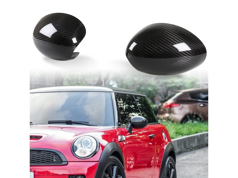 Mini Cooper S R55 R56 R57 Rear Dry Carbon Fiber Door Mirror Cover LHD
