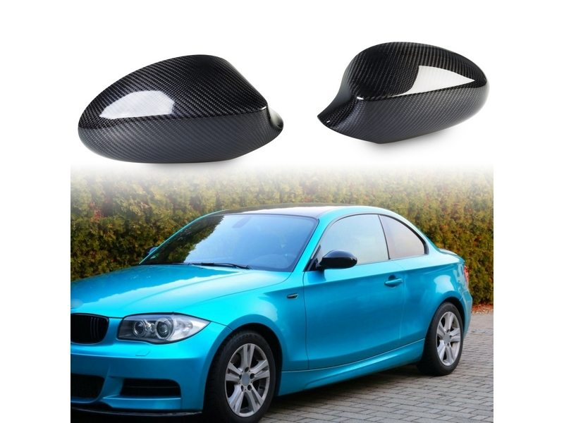BMW 1 Series E87 E81 E82 E88 Carbon Fiber CF Door Side Mirror Shell Covers
