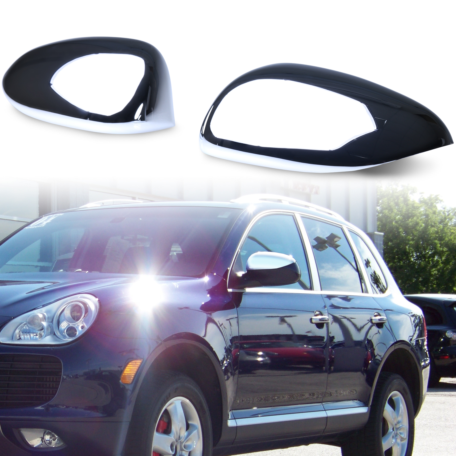 Pair Chrome Door Mirror Cover For Porsche Cayenne 955
